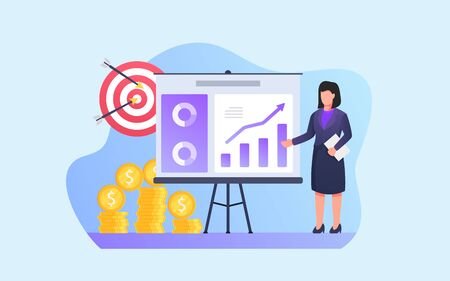 business woman give presentation analysis with target and financial report summary on white board vector