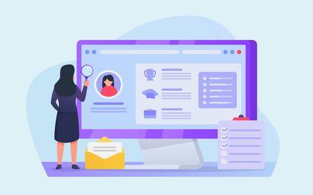 cv analysis for hiring people on online applications on computer screen vector Illusztráció