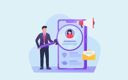 digital profile analysis for business professional on hiring new employee vector Illusztráció