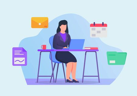business woman work on laptop on office desk concept with icons related vector