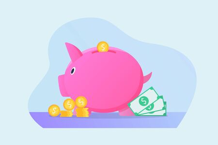 saving piggy bank isolated concept with money and modern flat style vector