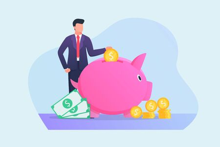 business man saving money in piggy bank concept with flat style vector