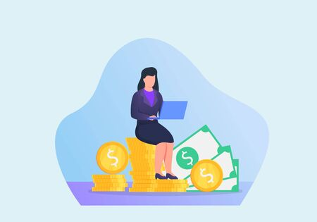 woman with financial target working on laptop with modern flat style vector