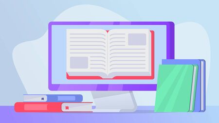 reading online books concept with open book on computer laptop screen vector Ilustração