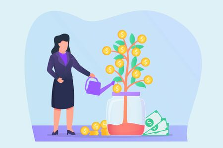 growing investment with woman give water to money plant vector