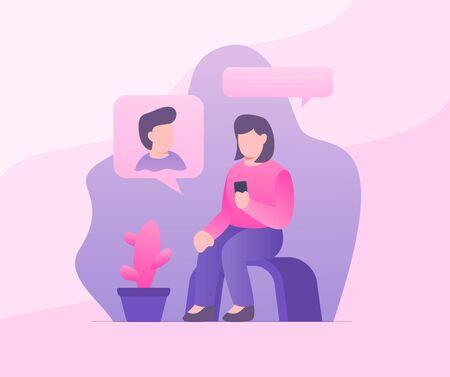couple online text messaging man and woman with modern flat style vector Illusztráció