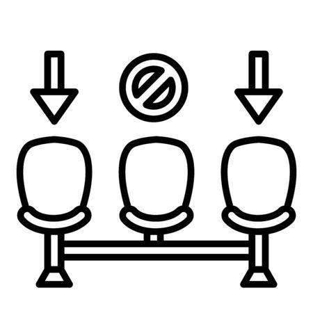 Körperliche Distanzierung oder soziale Distanz Symbol Stuhlabstand mit modernem Flachliniensymbol Stil Vektor