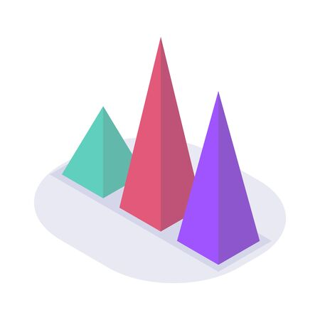 triangle graph chart isometric icon with modern flat style color vector
