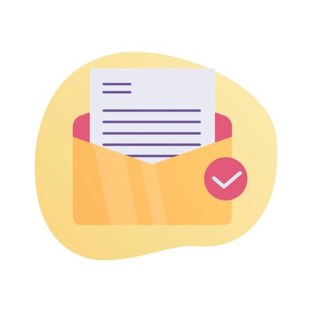 email inbox checklist icon with modern color full and fluid shape wave vector