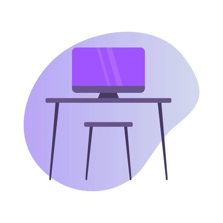 computer work desk or workspace icon with modern color full and fluid shape wave vector