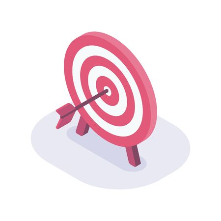 business goals dart isometric icon with modern flat style color vector Vector Illustration