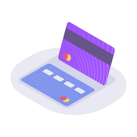 business credit card isometric icon with modern flat style color vector