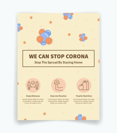 we can stop corona virus covid 19 disease with flyer or brochure with icons variation modern flat style vector