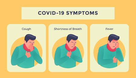 covid-19 or corona virus disease symptoms with people sick illustration vector Vectores