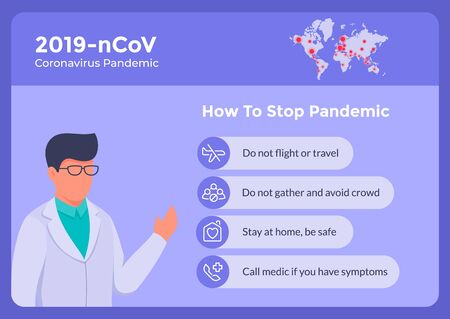 how to stop corona virus covid-19 with some instructional list for banner poster and doctor give advice vector