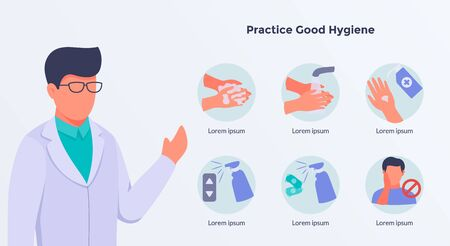 doctor give some advice on practice good hygiene concept with icons cleaning illustration vector