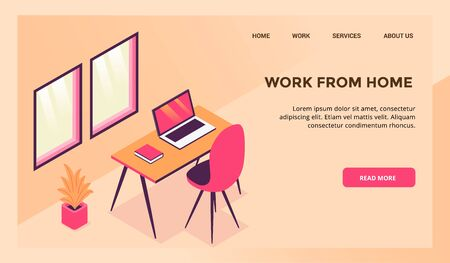 work from home workspace concept for website template or landing homepage vector