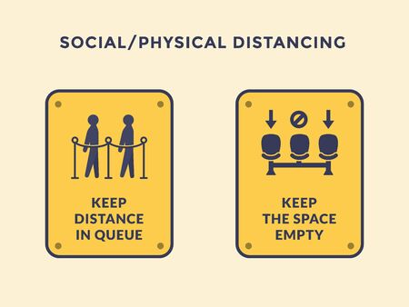 social or physical distancing icon with people in queue and chair stance with yellow black icon sign