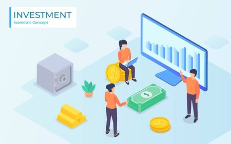Business people working together and growing a successful financial chart with sprouting plants : investments and finance concept Ilustração