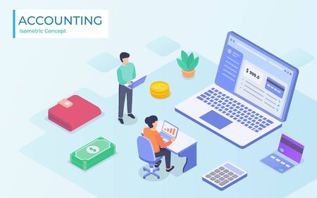 Isometric Online Accountant Concept. Woman Accountant Is Preparing A Tax Report And Calculating Payment Check Basing On Data. Vector Illustration