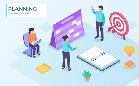 business finance schedule with vector isometric design concept Иллюстрация