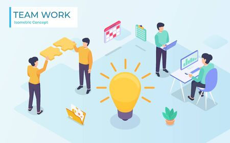 Flat isometric vector business illustration. small people characters develop creative business idea. Isometric big light bulb as metaphor idea. Graphics design for posters, and banners, Landing
