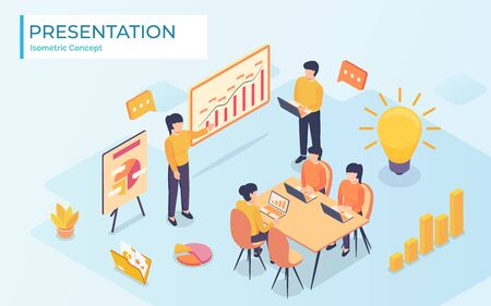 Businessman presenting new project to his partners and colleagues. He is showing graphs. Coach giving presentation to clients at conference meeting room. Modern vector illustration.