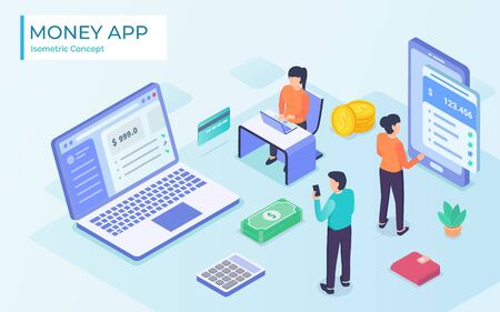 mans and woman doing the tasks given the money app by using laptops for business investment with modern flat isometric cartoon illustration - vector