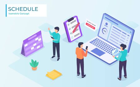 Company business team working together planning and scheduling their operations agenda on a spring desk calendar with Flat style vector isometric illustration