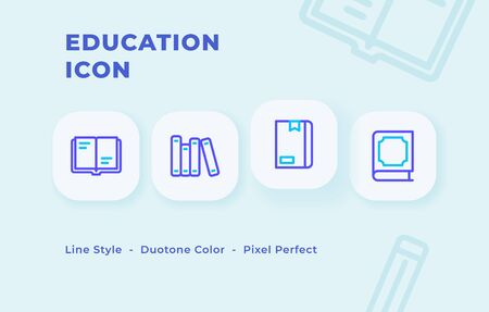 Education icon set with line style duo tone color modern flat vector illustration