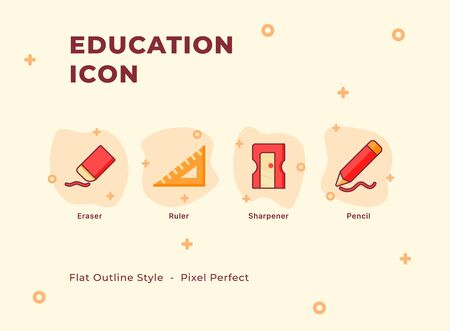 Education icon set with modern flat outline style vector illustration. Vettoriali