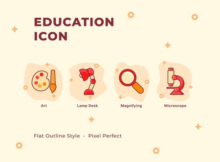 Education icon set with modern flat outline style vector illustration. Иллюстрация