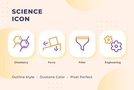 Science icon set with modern flat outline style duo tone color vector illustration.