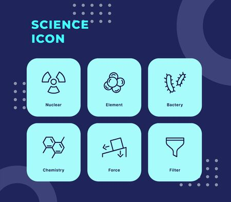 Science icon set with modern flat outline style blue theme vector illustration. Illustration