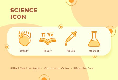 Science icon set with modern flat filled outline style chromatic color vector illustration.