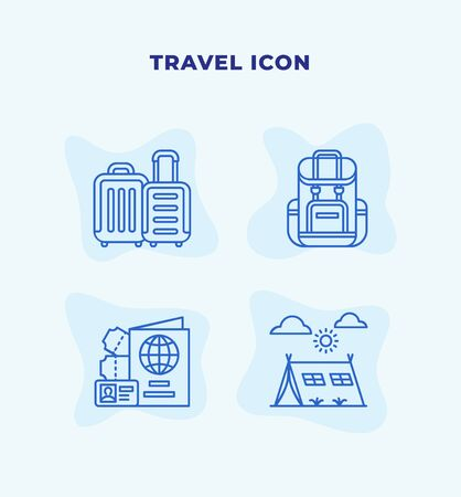 Travel icon set with blue line modern flat style vector illustration.