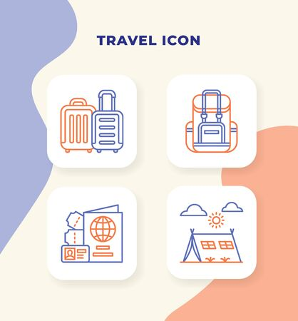Travel icon set with outline style duo tone color modern flat vector illustration.