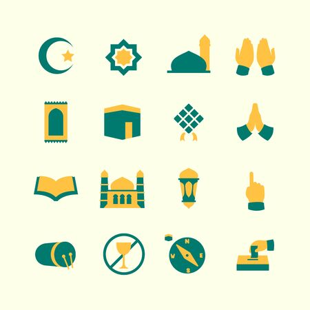 ramadan icon set collection package with various shape and dual tone style vector illustration Illustration