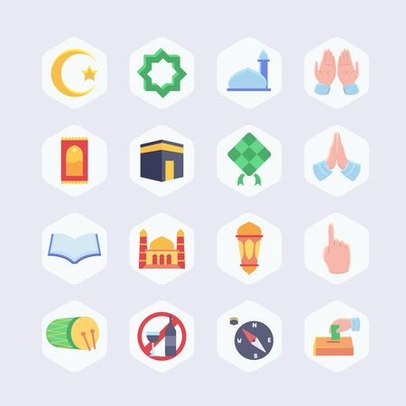 Islamic icon set collection package full color modern flat design vector illustration