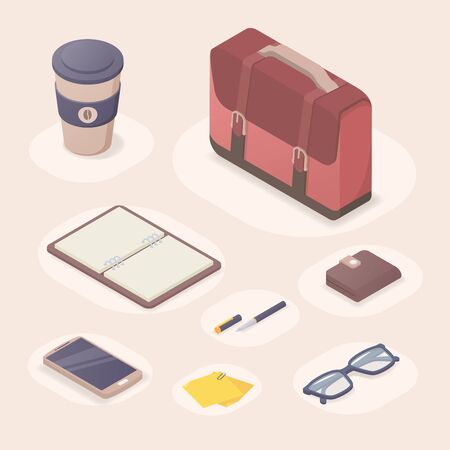 business tools isometric 3 D perfect for executive accessories suitcase