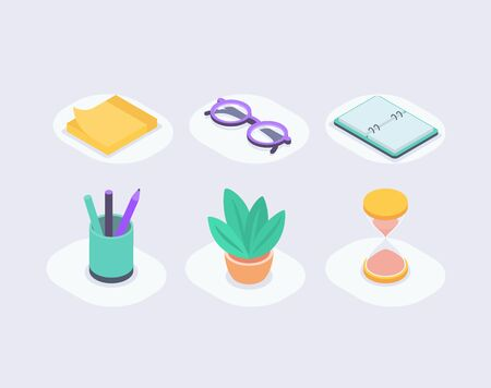 business icon set collection with isometric style with notes glasses notebook pencil plant and time icons vector illustration