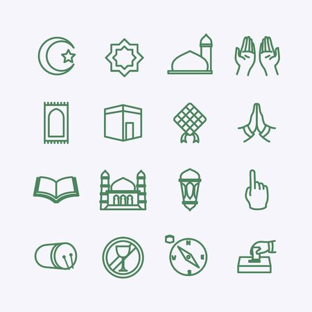 muslim icon set collection package with line style perfect for islam ramadan id mubarak mosque vector illustration