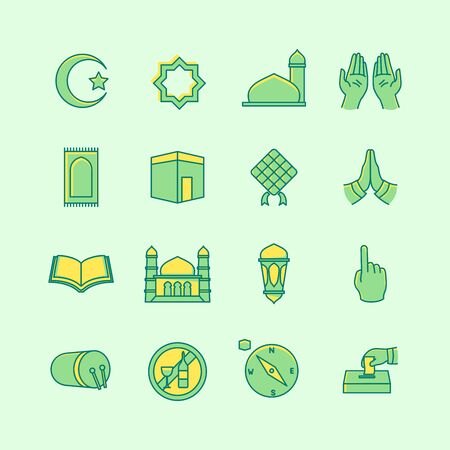 islamic icon set collection package with various shape and dual tone style and green theme vector illustration