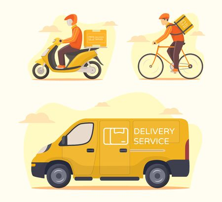 Delivery service transportation set courier riding motorcycle bicycle car van shipping parcel package modern flat style vector illustration