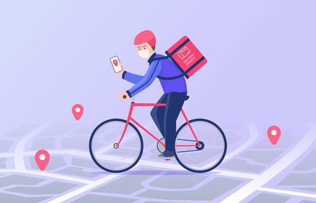 Courier ride bicycle and wearing mask delivery package carry to address destination following gps navigation modern flat cartoon style vector illustration illustration Illustration