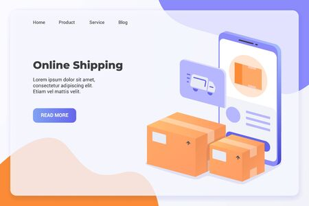 Delivery service with online shipping campaign concept for website template landing or home page website modern flat cartoon style vector illustration