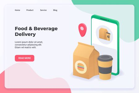 Food & Beverage Delivery campaign concept for website template landing or home page website.modern flat cartoon style vector illustration.