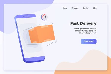 Fast Delivery campaign concept for website template landing or home page website.modern flat cartoon style vector illustration. Illustration