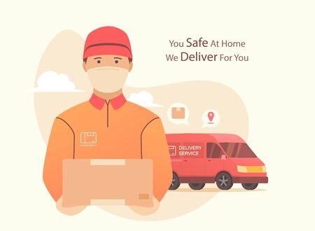 Delivery during pandemic coronovirus. Courier using surgical mask with box in his hand. Portrait from the waist up.modern flat style Vector illustration.
