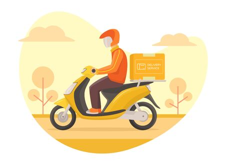 Courier delivery service fast driving scooter, bright weather background modern flat style vector illustration